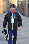 Photographer Otto de Waele at the Strade Bianche Eroica Pro 2015 cycle race 200km over the white gravel roads from San Gimignano to Siena, Tuscany, Italy. 8th March 2015<br /> Photo: Eoin Clarke www.newsfile.ie