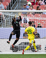 CLEVELAND, OH - JUNE 22: Akel Clarke #1 makes a save during a game between Panama and Guyana at FirstEnergy Stadium on June 22, 2019 in Cleveland, Ohio.