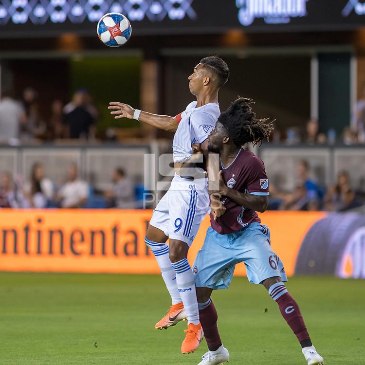 SAN JOSÉ CA - JULY 27: Danny Hoesen #9, Lalas Abubakar #6 during a Major League Soccer (MLS) match between the San Jose Earthquakes and the Colorado Rapids on July 27, 2019 at Avaya Stadium in San José, California.
