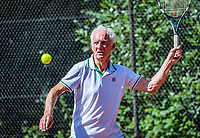 Hilversum, The Netherlands,  August 18, 2020,  Tulip Tennis Center, NKS, National Senior Championships, Men's single 80+ ,  Peter Korver (NED) <br /> Photo: www.tennisimages.com/Henk Koster