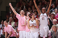 16 February 2008: Stanford Cardinal (L-R) Michelle Harrison, Ashley Cimino, Hannah Donaghe, Morgan Clyburn, Candice Wiggins, and Kate Paye during Stanford's 79-57 win against the Arizona State Sun Devils at Maples Pavilion in Stanford, CA.