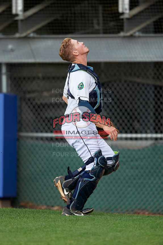 Princeton Rays catcher Jordyn Muffley (2) tracks a pop up during the second game of a doubleheader against the Greeneville Reds on July 25, 2018 at Hunnicutt Field in Princeton, West Virginia.  Greeneville defeated Princeton 8-7.  (Mike Janes/Four Seam Images)