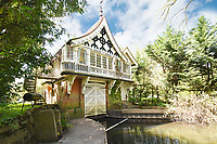 BNPS.co.uk (01202 558833)<br /> Pic:  Riverhomes/BNPS<br /> <br /> Pictured: The boathouse's enclosed mooring on the banks of the River Thames.<br /> <br /> A striking Victorian boathouse that has been used as a film set is on the market for £2m.<br /> <br /> The time capsule building by the River Thames was used in a film version of The Wind in the Willows and the 1996 film True Blue, about the Oxford Cambridge boat race.<br /> <br /> It has an enclosed mooring as well as two moorings on the bank, perfect for those who want to spend their days messing about in boats like Ratty and Mole.
