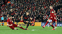 Atletico Madrid's Marcos Llorente scores his side's second goal <br /> <br /> Photographer Rich Linley/CameraSport<br /> <br /> UEFA Champions League Round of 16 Second Leg - Liverpool v Atletico Madrid - Wednesday 11th March 2020 - Anfield - Liverpool<br />  <br /> World Copyright © 2020 CameraSport. All rights reserved. 43 Linden Ave. Countesthorpe. Leicester. England. LE8 5PG - Tel: +44 (0) 116 277 4147 - admin@camerasport.com - www.camerasport.com