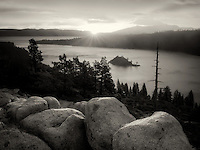 Sunrise and granite boulders at Emerald Bay, Lake Tahoe, California