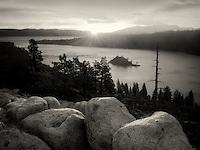 Sunrise and granite boulders at Emerald Bay, Lake Tahoe, California