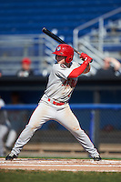 Auburn Doubledays second baseman Dalton Dulin (1) at bat during the second game of a doubleheader against the Batavia Muckdogs on September 4, 2016 at Dwyer Stadium in Batavia, New York.  Batavia defeated Auburn 6-5. (Mike Janes/Four Seam Images)