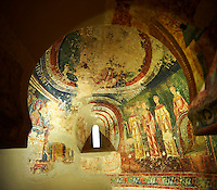 Eleventh Century Romanesque frescoes of the side Apse of Sant Quirze de Pedret showing the parabel of the Ten Virgins from the Gospel of St. Matthew. The church of Sant Quize de Padret, Cercs, Bergueda, Sapin. National Art Museum of Catalonia, Barcelona. MNAC 15973