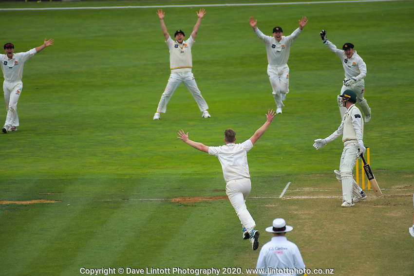 Jimmy Neesham appeals during day two of the Plunket Shield cricket match between the Wellington Firebirds and Central Districts at Basin Reserve in Wellington, New Zealand on Tuesday, 3 March 2020. Photo: Dave Lintott / lintottphoto.co.nz
