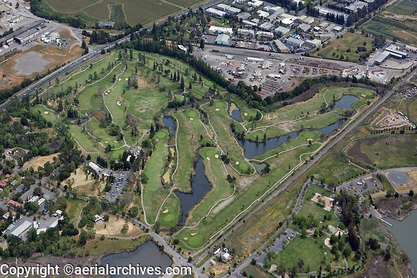 aerial photograph of the Napa Golf Course, Napa County, California, Kennedy Park in the foreground right