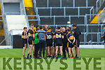 Dr Crokes manager Edmond O'Sullvan gives tactical advive to his players  during the water break at their  SFC clash in Fitzgerald Stadium on Friday evening