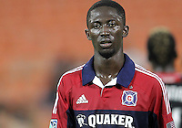WASHINGTON, DC. - AUGUST 22, 2012:   Patrick Nyarko (14) of the Chicago Fire during an MLS match against DC United at RFK Stadium, in Washington DC,  on August 22. United won 4-2.