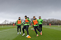 (L-R) Matt Grimes, Ben Cabango, Jake Bidwell and Conor Gallagher in action during the Swansea City Training Session at The Fairwood Training Ground, Swansea, Wales, UK. Wednesday 11 March 2020