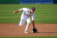 Auburn Doubledays shortstop Clayton Brandt (3) fields a ground ball during a game against the Williamsport Crosscutters on June 26, 2016 at Falcon Park in Auburn, New York.  Auburn defeated Williamsport 3-1.  (Mike Janes/Four Seam Images)