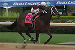 April 10, 2015: Jockey John Velazquez aboard Untapable before the finish line in the Apple Blossom Handicap at Oaklawn Park in Hot Springs, AR. Justin Manning/ESW/CSM