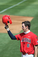 Daniel Susac (6) of the Arizona Wildcats during a game against the UCLA Bruins at Jackie Robinson Stadium on March 20, 2021 in Los Angeles, California. Arizona defeated UCLA, 7-3. (Larry Goren/Four Seam Images)