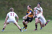 RBAI vs R S ARMAGH | Saturday 21st February 2015<br /> <br /> Michael Lowry passes outside during 2015 Ulster Schools Cup Quarter-Final between RBAI and Royal School Armagh at Osborne Park, Belfast, Northern Ireland.<br /> <br /> Picture credit: John Dickson / DICKSONDIGITAL