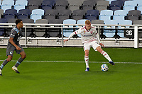 ST PAUL, MN - SEPTEMBER 27: Justen Glad #15 of Real Salt Lake controls the ball during a game between Real Salt Lake and Minnesota United FC at Allianz Field on September 27, 2020 in St Paul, Minnesota.