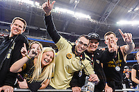 January 01, 2014:<br /> <br /> UCF Knights fans celebrate Tostitos Fiesta Bowl victory at University of Phoenix Stadium in Scottsdale, AZ. UCF defeat Baylor 52-42 to claim it's first ever BCS Bowl trophy.