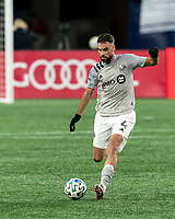 FOXBOROUGH, MA - NOVEMBER 20: Rudy Camacho #4 of Montreal Impact passes the ball during the Audi 2020 MLS Cup Playoffs, Eastern Conference Play-In Round game between Montreal Impact and New England Revolution at Gillette Stadium on November 20, 2020 in Foxborough, Massachusetts.(Photo by Andrew Katsampes/ISI Photos/Getty Images).