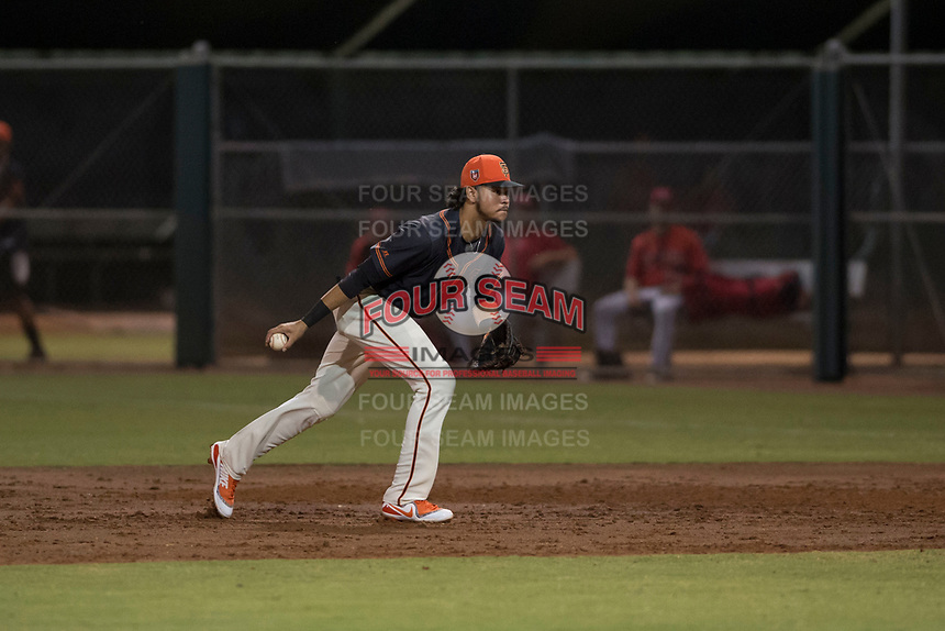 AZL Giants Black first baseman Francisco Medina (19) prepares to flip a ball to the pitcher covering first base during an Arizona League game against the AZL Angels at the San Francisco Giants Training Complex on July 1, 2018 in Scottsdale, Arizona. The AZL Giants Black defeated the AZL Angels by a score of 4-2. (Zachary Lucy/Four Seam Images)