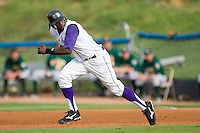 Justin Greene #2 of the Winston-Salem Dash takes off for second base against the Lynchburg Hillcats at Wake Forest Baseball Stadium August 30, 2009 in Winston-Salem, North Carolina. (Photo by Brian Westerholt / Four Seam Images)