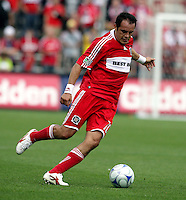 Chicago Fire midfielder Cuauhtemoc Blanco (10) cuts toward the Columbus goal  The Columbus Crew tied the Chicago Fire 2-2 at Toyota Park in Bridgeview, IL on September 20, 2009.