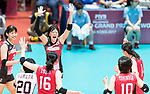 Wing spiker Yurie Nabeya (C) of Japan celebrates with her teammates during the FIVB Volleyball World Grand Prix - Hong Kong 2017 match between Japan and Serbia on 22 July 2017, in Hong Kong, China. Photo by Yu Chun Christopher Wong / Power Sport Images
