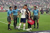 LAS VEGAS, NV - AUGUST 1: Paul Arriola #7 of the United States and Hector Moreno #15 of Mexico during the coin toss before a game between Mexico and USMNT at Allegiant Stadium on August 1, 2021 in Las Vegas, Nevada.