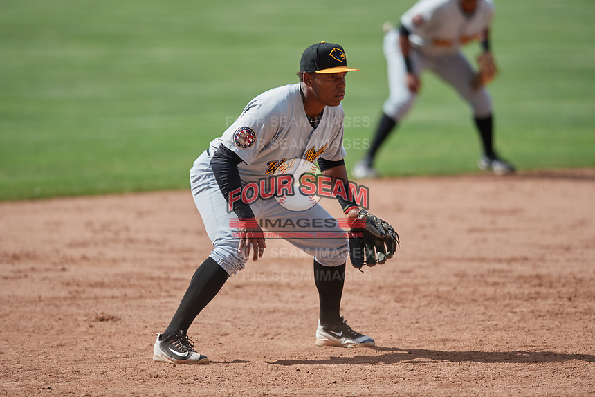 West Virginia Black Bears third baseman Julio De La Cruz (10) during a game against the Batavia Muckdogs on June 25, 2017 at Dwyer Stadium in Batavia, New York.  Batavia defeated West Virginia 4-1 in nine innings of a scheduled seven inning game.  (Mike Janes/Four Seam Images)