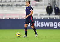 FORT LAUDERDALE, FL - DECEMBER 09: Aaron Long #3 of the United States looks for an open man downfield during a game between El Salvador and USMNT at Inter Miami CF Stadium on December 09, 2020 in Fort Lauderdale, Florida.