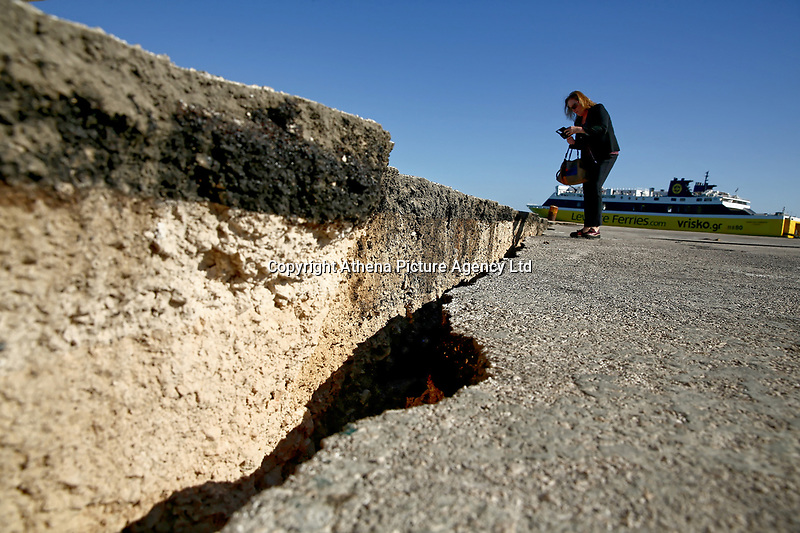 A huge crack has appeared at the port area of the island of Zante, after a 6.8 earthquake struck at 1.30am in Greece. Thursday 26 October 2018