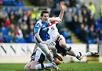 St Johnstone v Dundee.....02.01.13      SPL.Peter Pawlett is sent crashing by Declan Gallagher and Brian Easton.Picture by Graeme Hart..Copyright Perthshire Picture Agency.Tel: 01738 623350  Mobile: 07990 594431