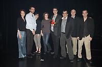 Montreal (QC) CANADA - May 18  2011  Gala NUMIX :  Production Culturelle - Section MusÈale - Gagnant : Terra Mutantes - IdÈes au Cube : <br /> Julie Schaffer, Benoit Martel, Sophie Malouin, Nathalie Thibodeau, Patrice Leduc, RenÈ Lepire, Mario Landry, Paul Ahad<br /> <br /> <br /> Photo : (c) 2011, Pierre Roussel -  Pour Usage editorial relie au gala NUMIX 2011