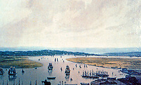 London: Detail of Wm. Daniel's View of East India Docks. Note Greenwich Naval Hospital in far background.   Reference only.
