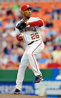 12 June 2006: Ramon Ortiz, pitcher for the Washington Nationals, winds up during a game against the Colorado Rockies at RFK Stadium, in Washington, DC. The Nationals fell to the Rockies 4-3 in the first game of the four game series...Mandatory Photo Credit: Ed Wolfstein Photo..