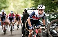 Richie Porte (AUS/Trek-Segafredo) up the final climb of the day; the Côte de la Roche aux Faucons<br /> <br /> 106th Liège-Bastogne-Liège 2020 (1.UWT)<br /> 1 day race from Liège to Liège (257km)<br /> <br /> ©kramon