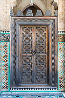 Fes, Morocco.  Medersa Bou Inania.   Woodwork Decoration on Door Leading to the Prayer Hall.