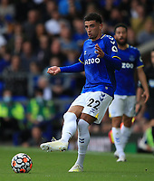 25th September 2021; Goodison Park, Liverpool, England; Premier League football, Everton versus Norwich; Ben Godfrey of Everton passes the ball