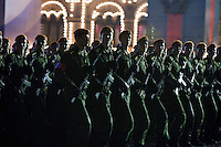 Moscow, Russia, 04/05/2010..Russian soldiers march at a night time rehearsal in Red Square for the forthcoming May 9 Victory Day parade, scheduled to be the largest for many years.