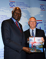 Montreal (Qc) CANADA -March 25 2009 -<br /> <br /> Abdou Diouf , Secretary-General of La Francophonie  gives a speech in Montreal. On his right Gerald Tremblay, Mayor of Montreal.<br /> <br /> Abdou Diouf (Wolof: Abdu Juuf) (born September 7, 1935[1]) was the second President of Senegal, serving from 1981 to 2000. Diouf is notable both for coming to power by peaceful succession, and leaving willingly after losing the 2000 presidential election to Abdoulaye Wade. He has been the Secretary-General of La Francophonie since 2003.