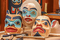 Tlingit Masks carved by native artist Tommy Joseph, Sitka National Historic Park in Sitka, Alaska