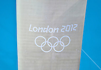 July 29, 2012..London 2012 inscribed on one of the diving platform column located at the Aquatics Center. Image was made on day two of 2012 Olympic Games England in London, United Kingdom...
