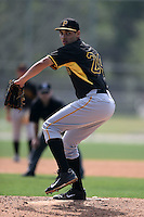 Pittsburgh Pirates pitcher Luis Paula (24) during a minor league spring training game against the New York Yankees on March 28, 2015 at Pirate City in Bradenton, Florida.  (Mike Janes/Four Seam Images)
