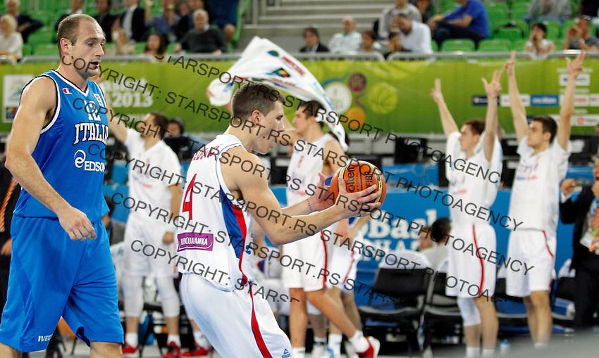 "Nemanja Nedovic of Serbia celebrate during European basketball championship ""Eurobasket 2013""  basketball game for 7th place between Serbia and Italy in Stozice Arena in Ljubljana, Slovenia, on September 21. 2013. (credit: Pedja Milosavljevic  / thepedja@gmail.com / +381641260959)"