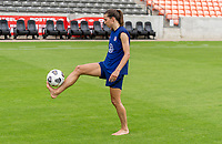 HOUSTON, TX - JUNE 9: Tobin Heath #17 of the USWNT juggles the ball after a training session at BBVA Stadium on June 9, 2021 in Houston, Texas.