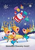 Interlitho-Fabrizio, Comics, CHRISTMAS ANIMALS, WEIHNACHTEN TIERE, NAVIDAD ANIMALES, paintings+++++,reindeer, santa,KL6198,#xa#