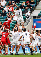 10th July 2021; Twickenham, London, England; International Rugby Union England versus Canada; Charlie Ewels of England limbs above the competition in an English line out