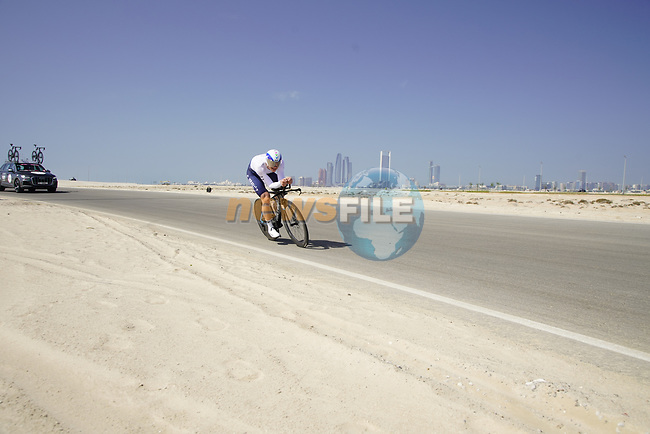 Andre Greipel (GER) Israel Start-Up Nation during Stage 2 of the 2021 UAE Tour an individual time trial running 13km around  Al Hudayriyat Island, Abu Dhabi, UAE. 22nd February 2021.  <br /> Picture: Eoin Clarke | Cyclefile<br /> <br /> All photos usage must carry mandatory copyright credit (© Cyclefile | Eoin Clarke)