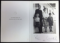 BNPS.co.uk (01202 558833)<br /> Pic: Rowleys/BNPS<br /> <br /> Pictured: On Britannia in 1956 sold for £170<br /> <br /> A series of Christmas cards sent by the Royal Family to a married couple on their staff over a 25 year period have sold for £2,000.<br /> <br /> Most of the cards were sent by the Queen and Prince Philip and show the changing face of the monarchy from the black-and-white post war world to the colourful 1970s.<br /> <br /> They were sent to the couple who worked at Balmoral, the wife in the house and the husband on the estate.<br /> <br /> The cards were sold individually with the most expensive being the one for Christmas 1947 which was signed by King George VI and the Queen Mother.